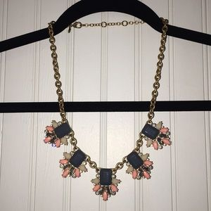 J Crew Pink, Gold, Grey statement necklace